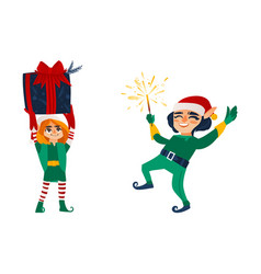 two christmas elves with a present and a sparkler vector image