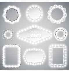 White Christmas Lights Frames vector image