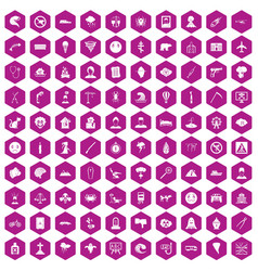 100 phobias icons hexagon violet vector image