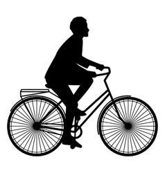 A woman rides on an orange bike with luggage flat vector image