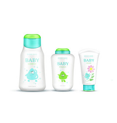Baby cosmetics package set with kids design vector