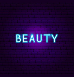 beauty neon text vector image