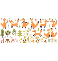 big set cute foxes trees and plants forest vector image