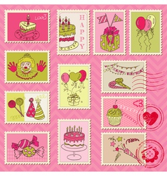 Birthday Postage Stamps vector image
