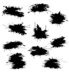 Black ink blots set vector image