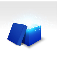 blue gift box on white background vector image