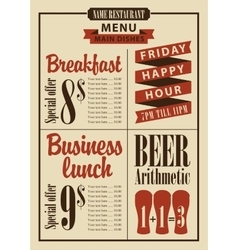 board menu for the restaurant with the prices vector image