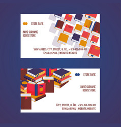 Book store set business cards vector