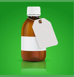brown plastic bottle with paper tag on green vector image