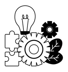business bulb gear puzzles vector image