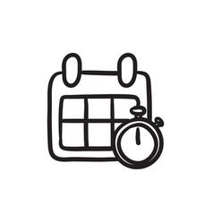 Calendar and stopwatch sketch icon vector