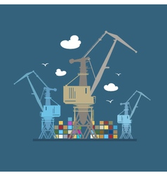 Cargo Cranes at Sea vector image