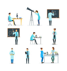 cartoon biologists chemists and physicists set vector image