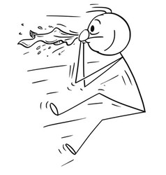 Cartoon of man blown by sneeze or nose blow vector