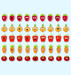 Cartoon vegetables cute character face sticker vector