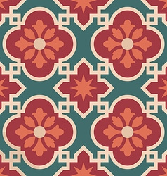 Ceramic Moroccan mosaic tile pattern with flower vector