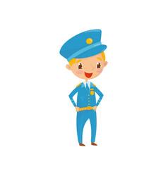Cheerful teen boy dressed as policeman kid wants vector