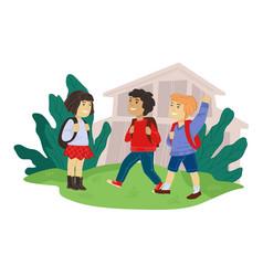 Children talking and interacting in school yard vector