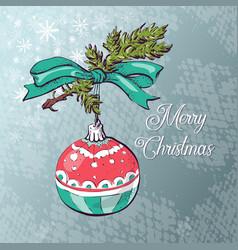 christmas ball card vector image