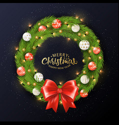 christmas wreath christmas balls an vector image