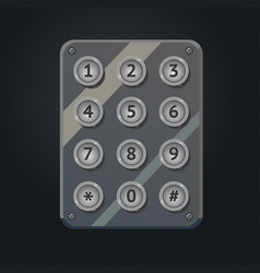 Chrome keaypad interface with metal buttons vector