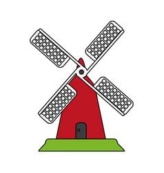 Color image cartoon farm windmill vector