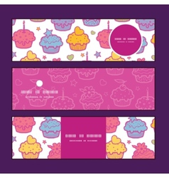 Colorful cupcake party horizontal banners set vector