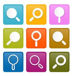 Colorful Magnifying Glass Square Icons Set vector image