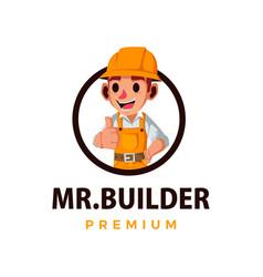construction builder thumb up mascot character vector image