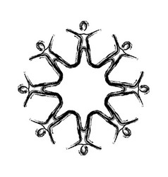 contour people making a star with their legs vector image