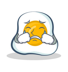 Crying fried egg character cartoon vector