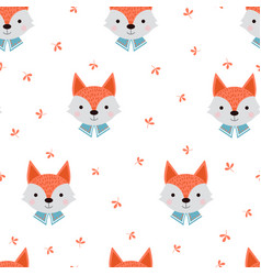 cute fox with forest plants seamless pattern vector image