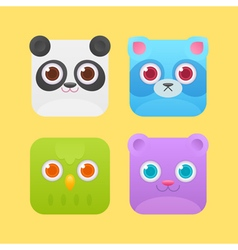 Cute square animals icons vector