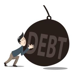 debt pushing vector image