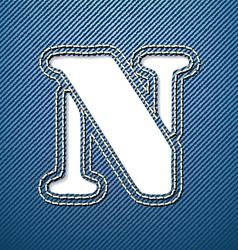Denim jeans letter N vector image