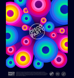Disco party poster invitation card vector