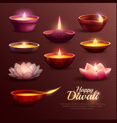 Diwali celebration icons set vector