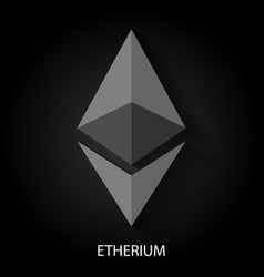 etherium logotype on black vector image