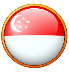 flag of singapore on round frame vector image