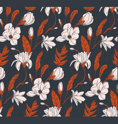 floral bouquet dark seamless pattern with small vector image