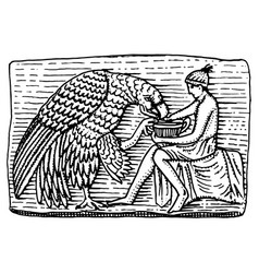 ganymeth and eagle ancient antique scene vintage vector image