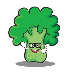 Geek broccoli chracter cartoon style vector