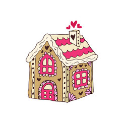 gingerbread house christmas cookie hand vector image