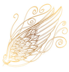 Golden wing isolated on white background design vector