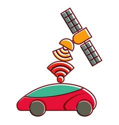 gps navigation satellite help car destination vector image