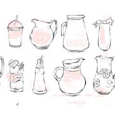 Hand drawn graphic kitchen glassware vector