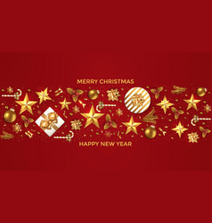 holiday new year card - 2019 on red background 6 vector image