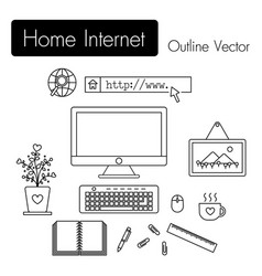 home internet computer and modern workspace vector image