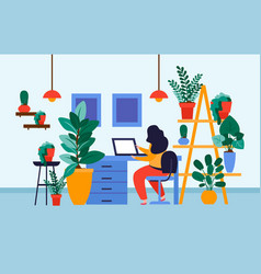 home office plants composition vector image