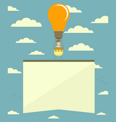 hot air balloon in the form of lightbulb with vector image